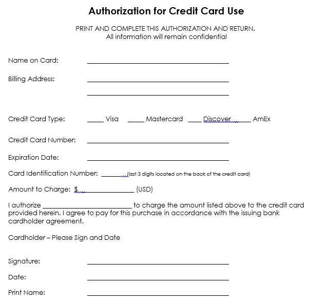 authorization for credit card use form