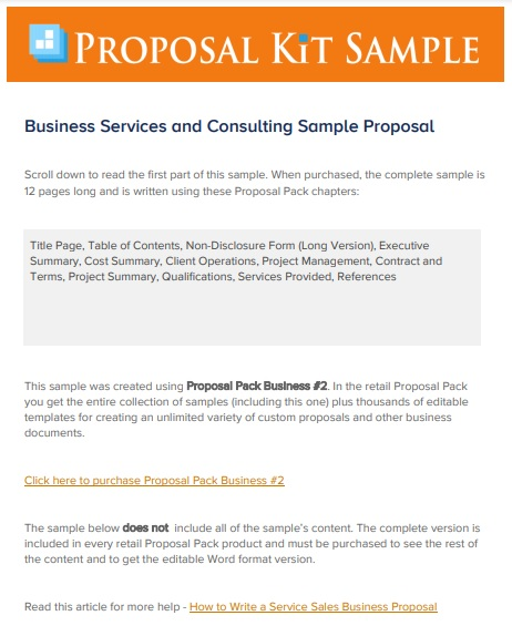 business service and consulting sample proposal