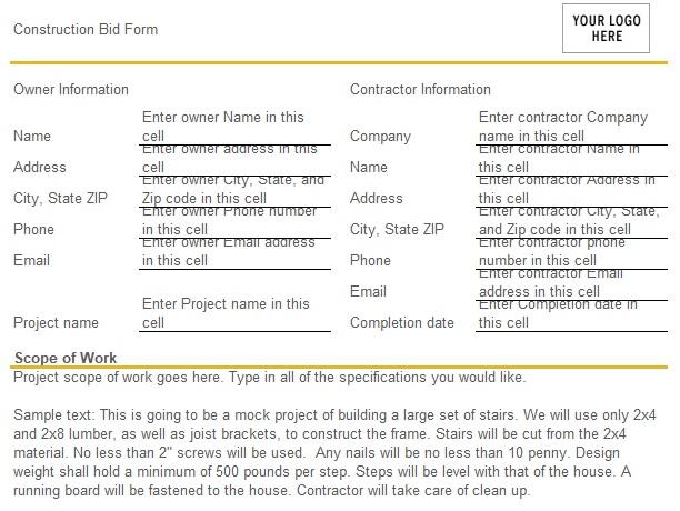 construction bid form template