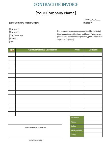 construction invoice form
