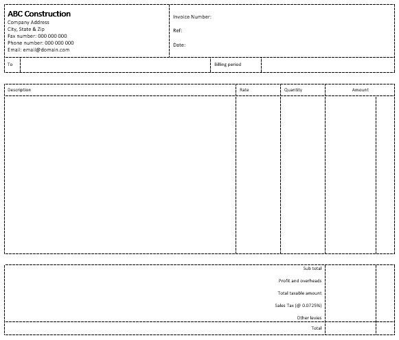 construction invoice template for word