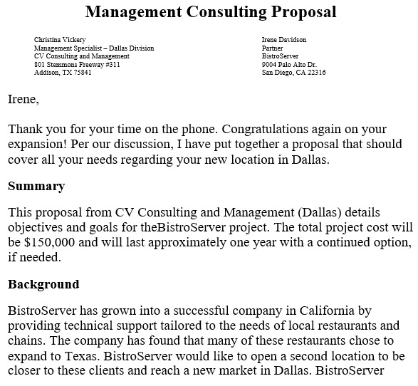 consulting proposal template for management