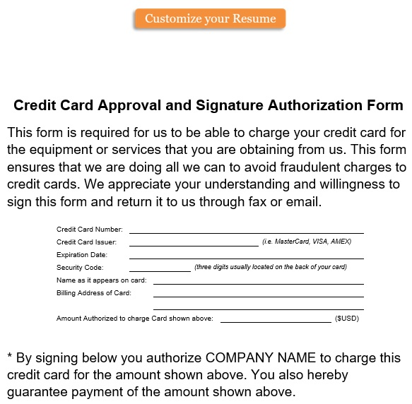 credit card approval and signature authorization form