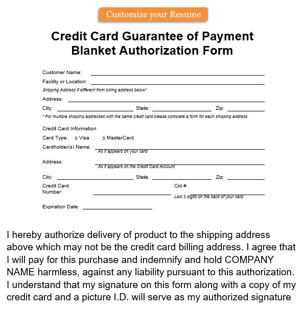 credit card guarantee of payment blanket authorization form