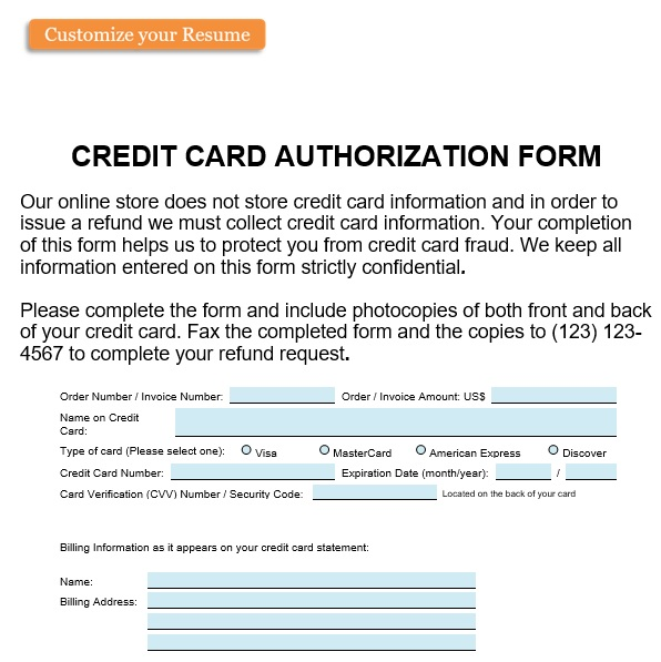 free credit card authorization form 1