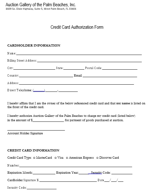 free credit card authorization form 2
