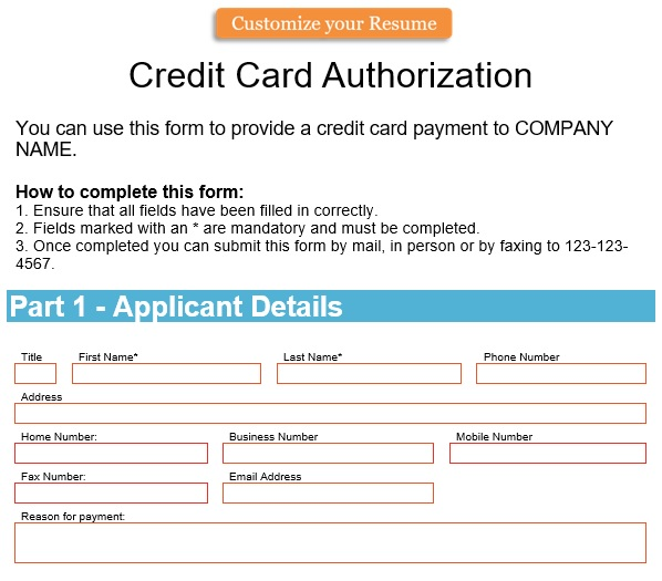 free credit card authorization form 3