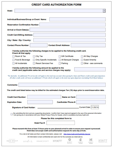 hotel credit card authorization form