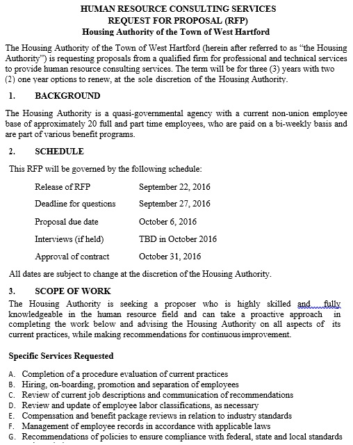human resource consulting services request for proposal rfp