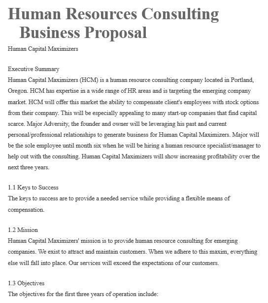 human resources consulting business proposal template