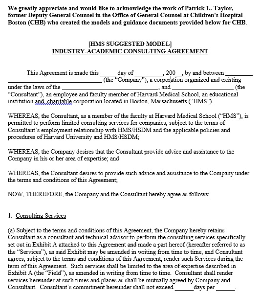 industry academic consulting agreement template