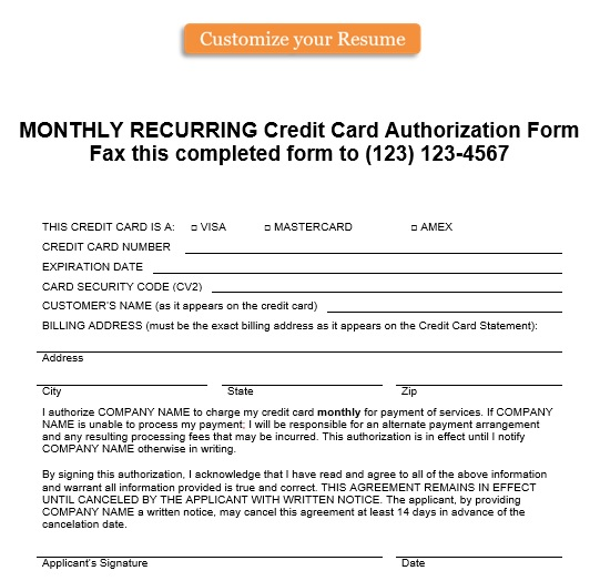monthly recurring credit card authorization form