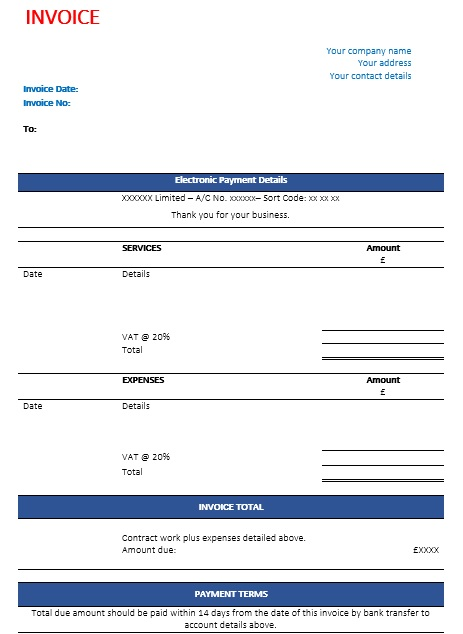 printable construction invoice template