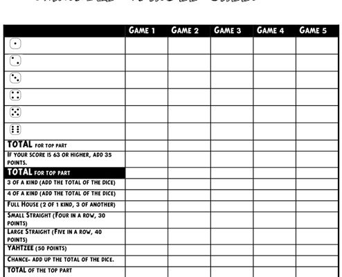 printable yahtzee score sheet 11