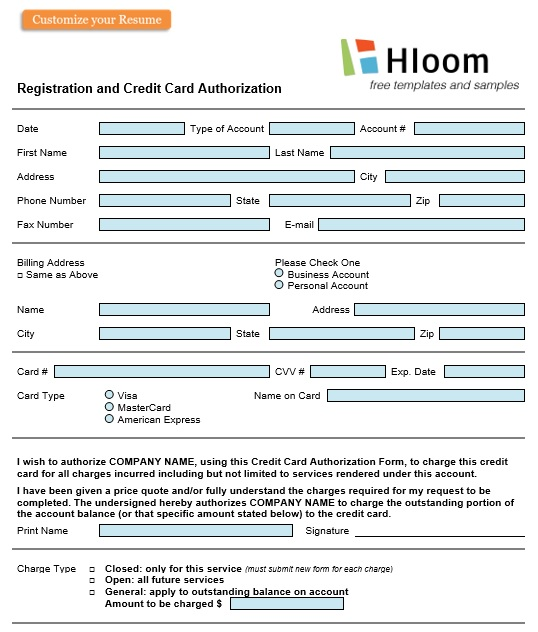 registration and credit card authorization form