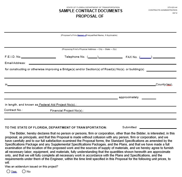 sample contract proposal document