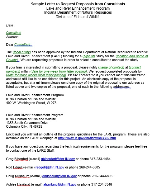 sample letter to request proposals from consultants