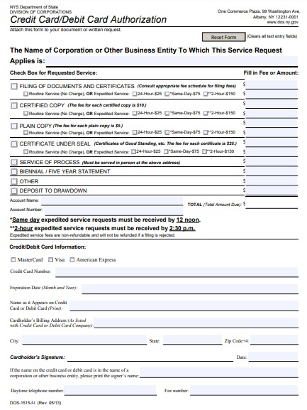 standard credit card or debit card authorization form