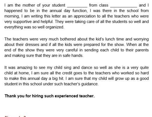 appreciation letter for teachers