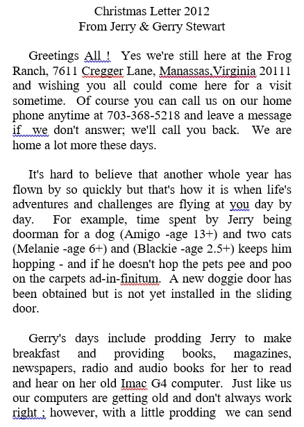 christmas letter from jerry gerry stewart