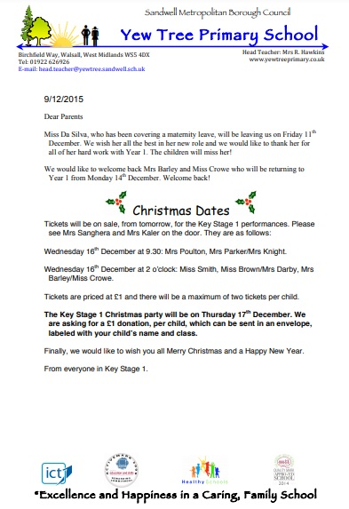christmas letter to yew tree primary school