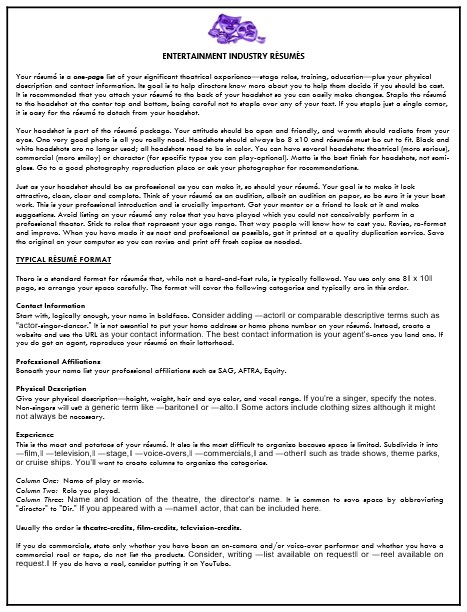 entertainment industry resume template