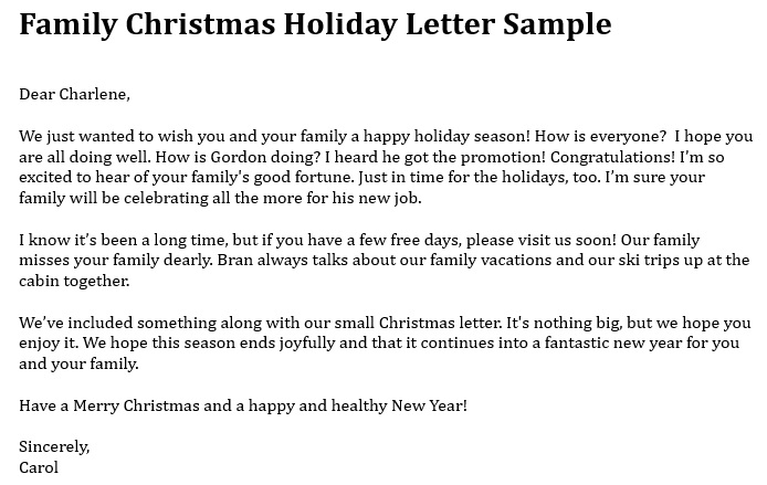 family christmas holiday letter template