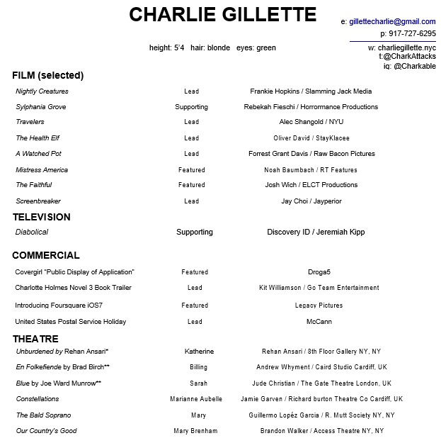 free acting resume template 1