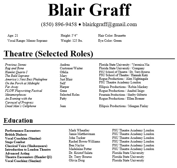 free acting resume template 14