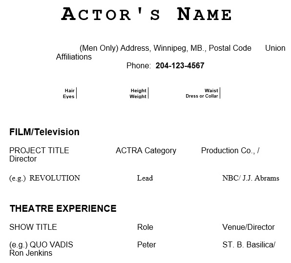 free acting resume template 20