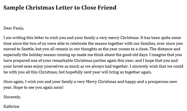 sample christmas letter to close friend
