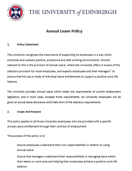 annual leave policy template