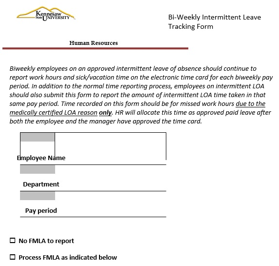 bi‐weekly intermittent leave tracking form