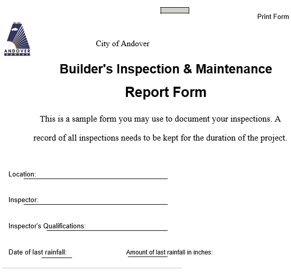 builder inspection maintenance report form