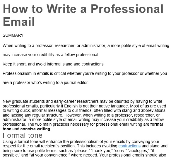 create professional email template