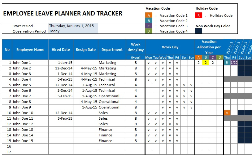 employee leave plan and tracker template