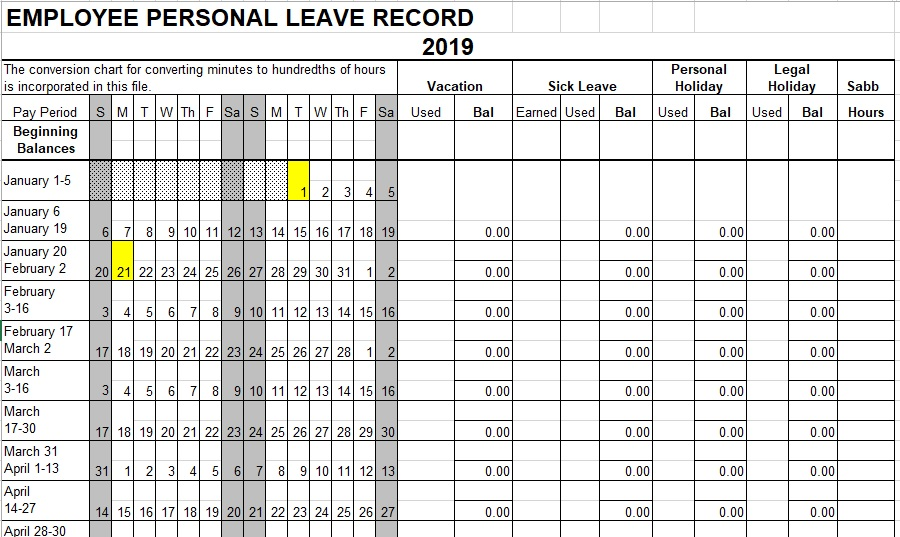 employee personal leave record spreadsheet