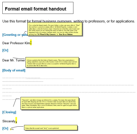 formal email format handout