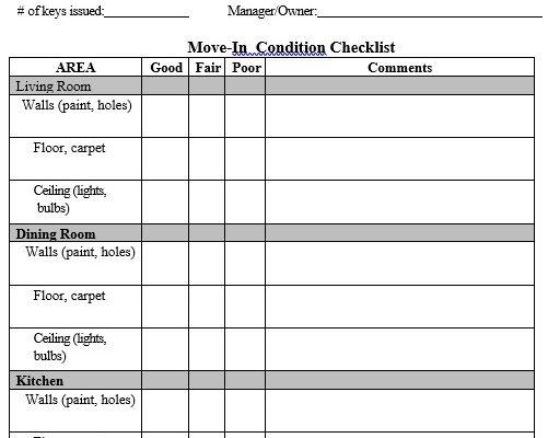 free apartment checklist template 8