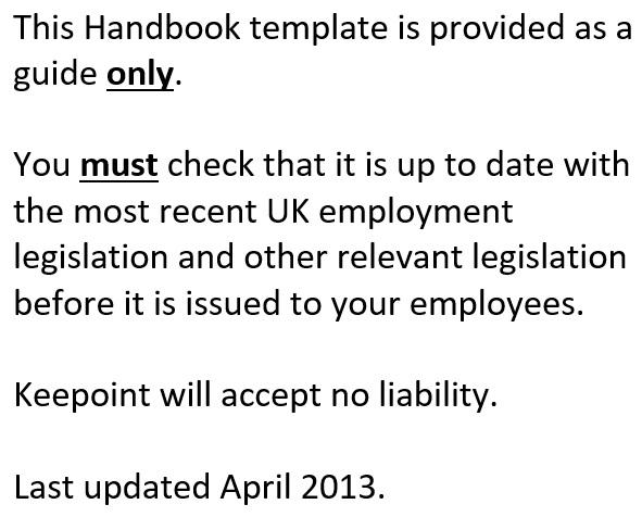 free employee handbook template 1