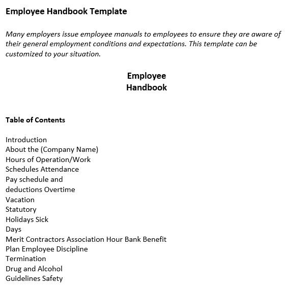 free employee handbook template 11