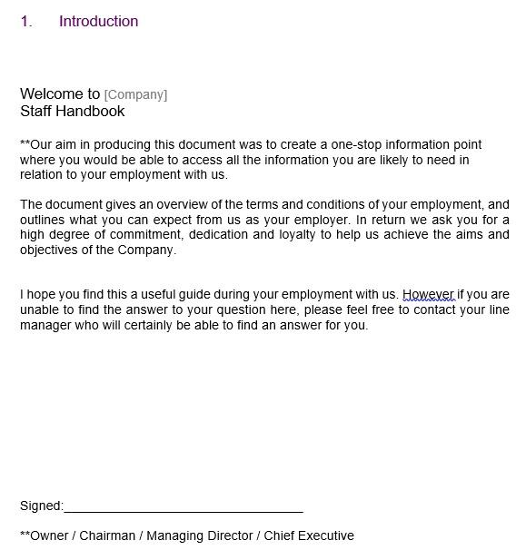 free employee handbook template 14