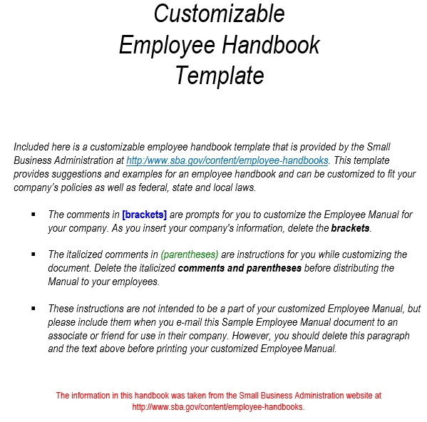 free employee handbook template 15