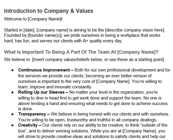 free employee handbook template 16