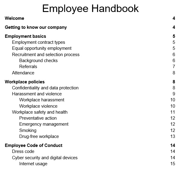 free employee handbook template 3