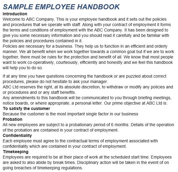 free employee handbook template 4