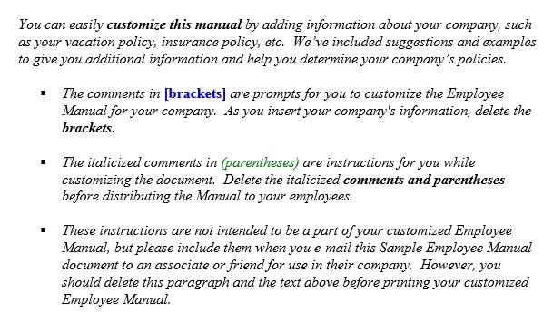 free employee handbook template 6