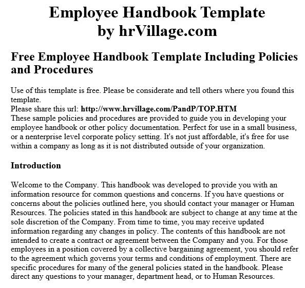 free employee handbook template 8