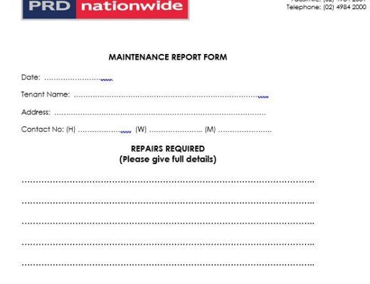 free maintenance report form 12
