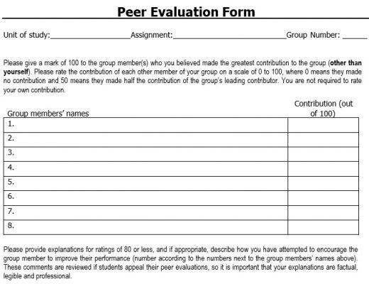 free peer evaluation form 5